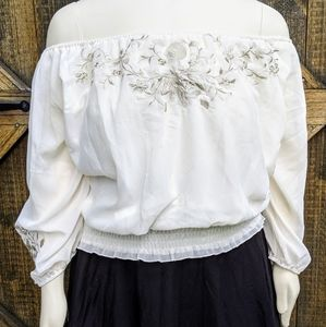 White Silky Top Embroidered Peasant Blouse Cottage